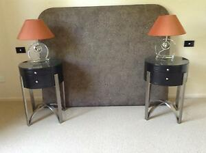 MODERN BEDSIDE TABLES  QUEEN BEDHEAD 2 MATCHING GLASS TABLE  LAMP Stanthorpe Southern Downs Preview