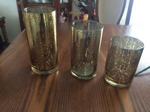 Vintage gold candle holders, wedding centrepieces