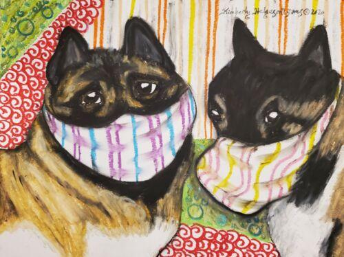 AKita Art Print 13x19 Quarantine Dogs by Artist Kimberly Helgeson Sams KSams