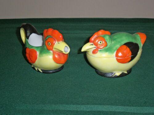 Antique Vtg Ceramic Creamer Sugar Bowl & Lid Chickens Green Yellow Deco Japan