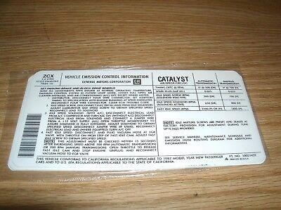 1987 PONTIAC BONNEVILLE 5.0 5.0L ENGINE EMISSIONS SPECIFICATIONS DECAL (Pontiac Bonneville Specifications)