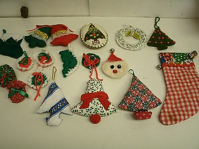 Lot of 17 Vintage and modern Crochet & cloth Christmas ornaments