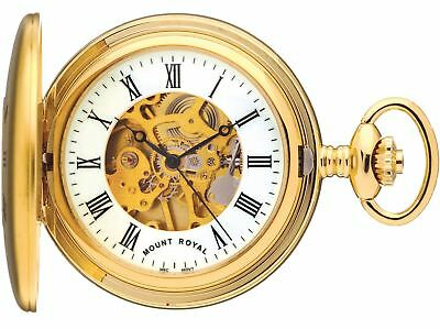 Skeleton Pocket Watch Gold Plated Half Hunter Plain Back - 17 Jewel Movement ()