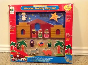Child's Wooden Nativity Play Set