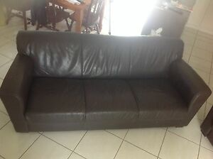 3 seater & 2 seater brown leather look lounge chairs North Mackay Mackay City Preview