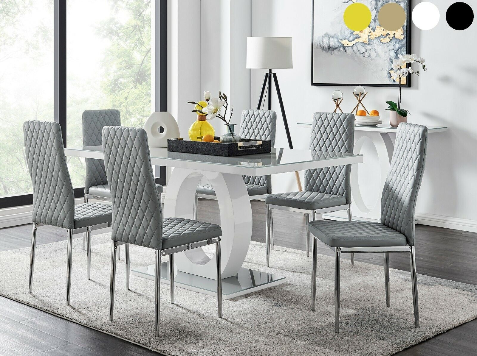 Picture of: Massive 10 Seater Dining Set 2 2mt White Glass Top Table 10 Grey Chairs For Sale Ebay