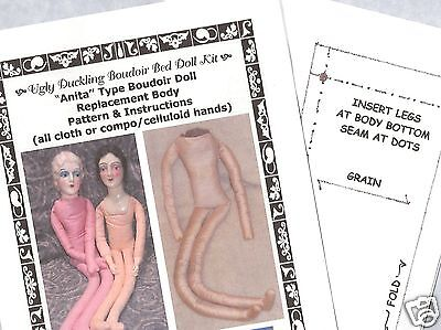 "Boudoir Replacement Cloth Doll Body Pattern ""anita type"" cloth or compo hands"