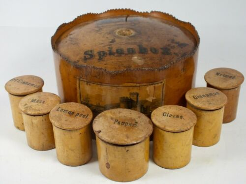 Antique Treen Ware Master Spice Box W/ 7 Individual Containers ~ Ferry Bowness