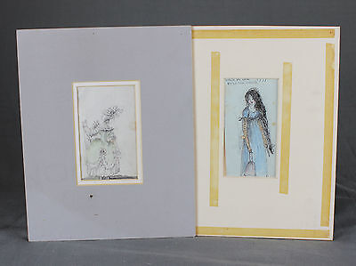 Pair of 18thC French Fashion Portraits Watercolour Sketch Studies 1777 and 1799