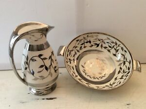 Old Silver Lustre Pitcher & Large Bowl