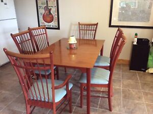 Solid wood Dining room Table and 6 chairs $225