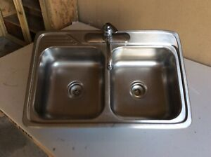 Double sink, stainless steel