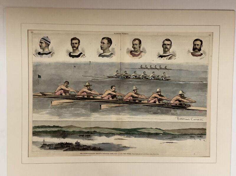 Original 1876 Rowing Print Intercollegiate Regatta,Saratoga Lake-Harper's Weekly