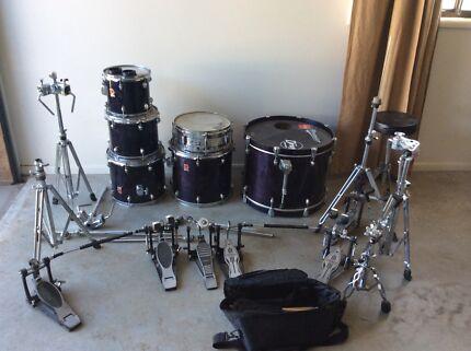 Premier Acoustic Drum Kit Deep Purple Woodgrain plus hardware Rutherford Maitland Area Preview