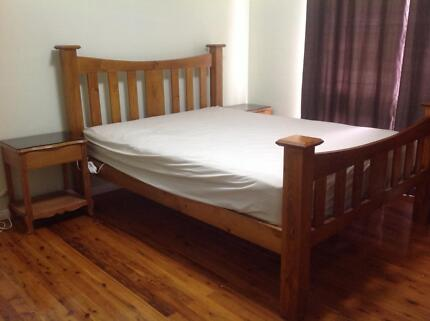 Used Queen size bed with mattress and side tables Colyton Penrith Area Preview