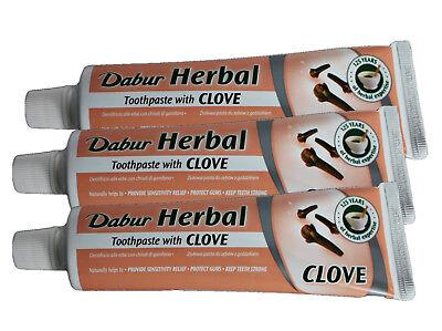 Dabur Kräuter-Zahnpasta mit Nelkenblütenöl, 3 Tuben, Nelken-Zahnpasta