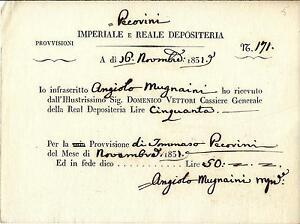 IMPERIALE-REALE-DEPOSITERIA-Novembre-1831-RICEVUTA-di-Lire-50-a-Tommaso-Pecorini