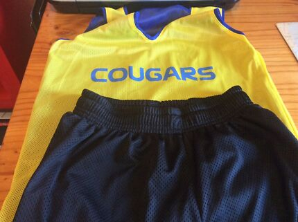 Near New Cougar training shirt and black shorts size 10