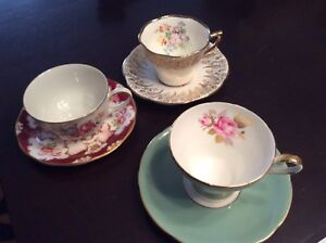 3 ANTIQUE Bone China Tea Cup & Saucers