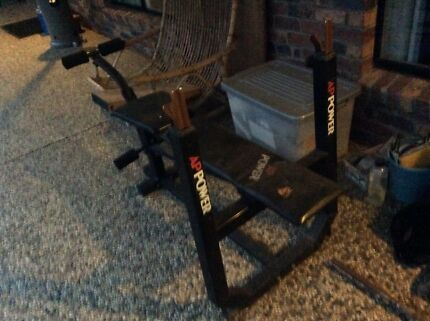 Bench press and cast iron weights