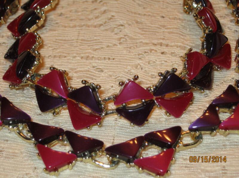 Vtg RED VIOLET & PURPLE THERMOSET NECKLACE BRACELET Art Deco GEOMETRIC Set 1950s
