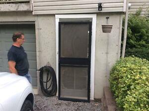 """Porte moustiquaire en aluminium 33""""x80"""" avec cylindre et poignée"""