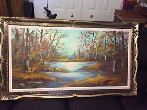 Winter scene and Fall scene 2 Oil painting  4x2 FT