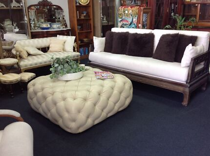 Italian leather poof foot stool table FURNITURE ANTIQUES AND MORE