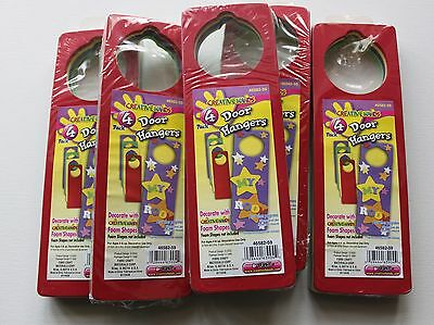 Lot of 5 new packs of foam door hangers - kids crafts (Foam Door Hangers)