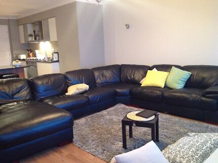 Black leather corner couch with chaise Burnside Melton Area Preview