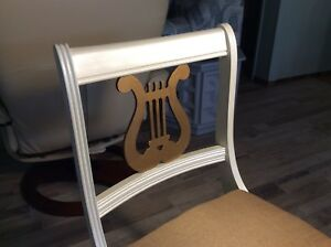 Chalk And Metallic Painted Lyre Accent Chair
