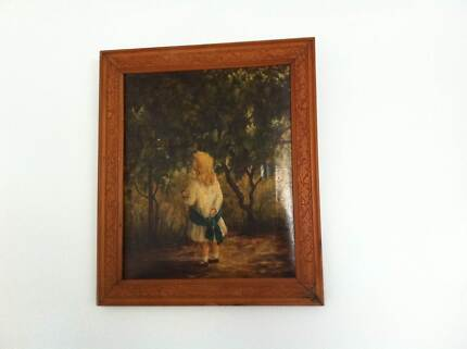 ANTIQUE ORIGINAL OIL PAINTING OF CHILD WITH DOLL Coolangatta Gold Coast South Preview