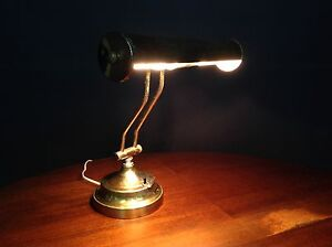 Vintage Brass plated bankers office desk lamp
