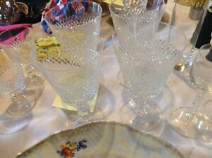 Crystal Glasses and Cream and Sugar Set