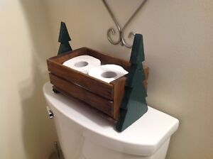 Nice Wooden Pinetree Toilet Paper Holder.