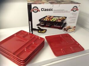 Swissmar 8 person raclette with set of red plates