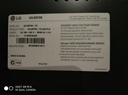 Lg tv 42lw5700-ta for parts