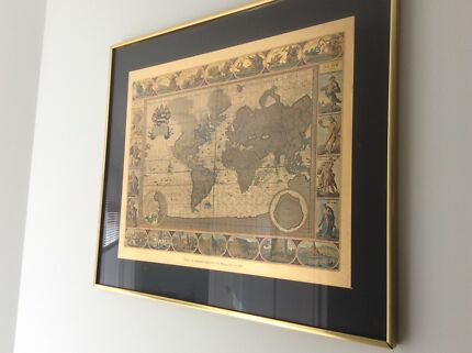 World map framed in sunshine coast region qld gumtree australia glass framed world map gumiabroncs Gallery