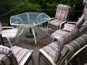 Glass top outdoor dining table with 6 chairs Red Hill Brisbane North West Preview