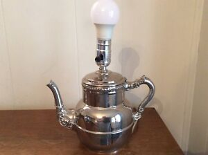 Silverplated Vintage Teapot Lamp