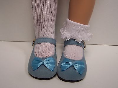 LT BLUE Faux Suede w/Satin Bow Doll Shoes Fits 18