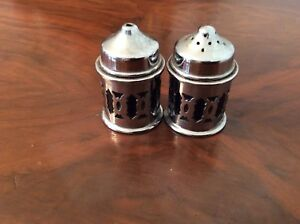 Cobalt blue Glass & Silver pelted Salt and Pepper shakers