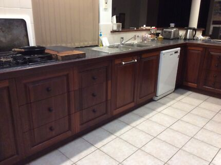 Solid Jarrah kitchen Cupboards with Wall Oven Tower Halls Head Mandurah Area Preview
