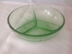 Depression glass divided bowl