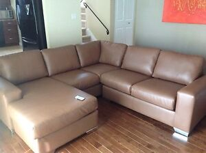 Like new Custom Made Maroon Faux Leather Sectional