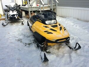 Snow mobile and trailer