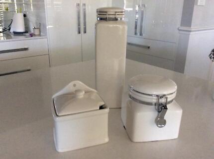Stoneware kitchen storage jars/canisters