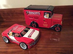 Set of Two Arnott's Biscuit Tins - Racing Car and Van Mill Park Whittlesea Area Preview
