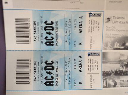 2 ACDC Tickets Sydney Saturday 7th November Jesmond Newcastle Area Preview