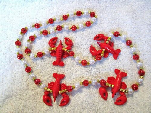 """RED CRAWFISH"" 3-D MARDI GRAS NECKLACE BEADS MUDBUGS  BOIL POLYSTONE (B713)"